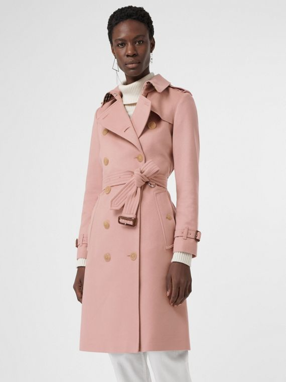 Cashmere Trench Coat in Chalk Pink