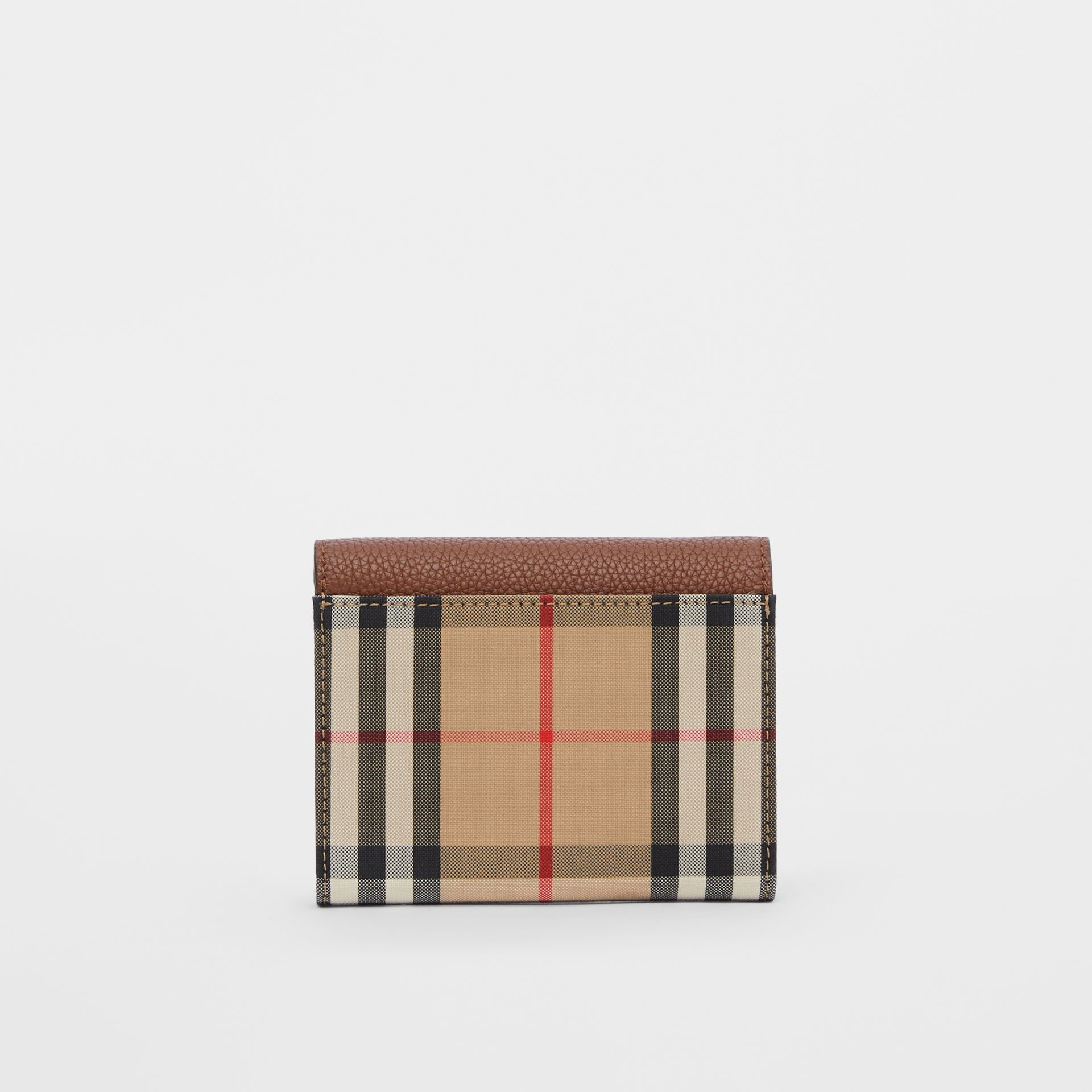 Small Vintage Check and Leather Folding Wallet in Tan - Women | Burberry - gallery image 4