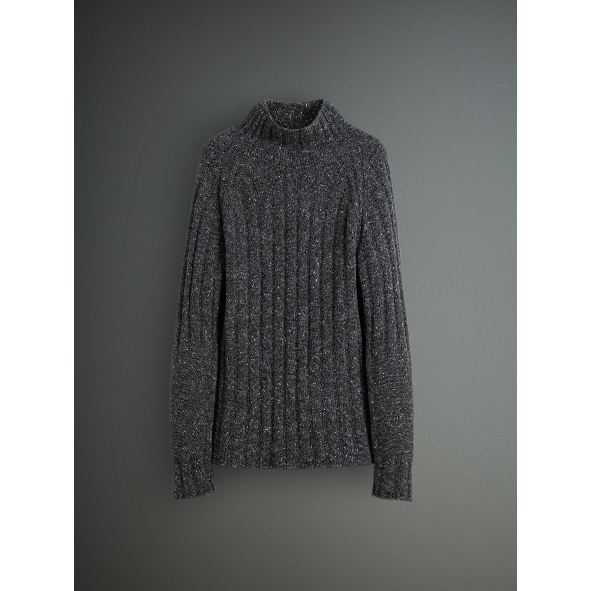 Rib Knit Wool Cashmere Turtleneck Sweater in Charcoal - Men | Burberry - gallery image 3