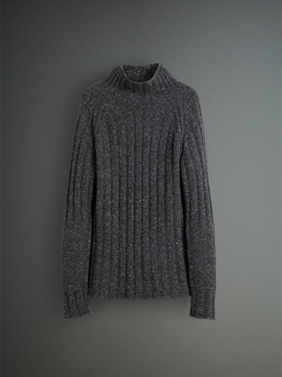 Rib Knit Wool Cashmere Turtleneck Sweater in Charcoal - Men | Burberry - cell image 3