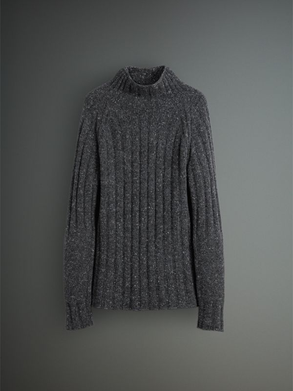 Rib Knit Wool Cashmere Turtleneck Sweater in Charcoal - Men | Burberry United Kingdom - cell image 3