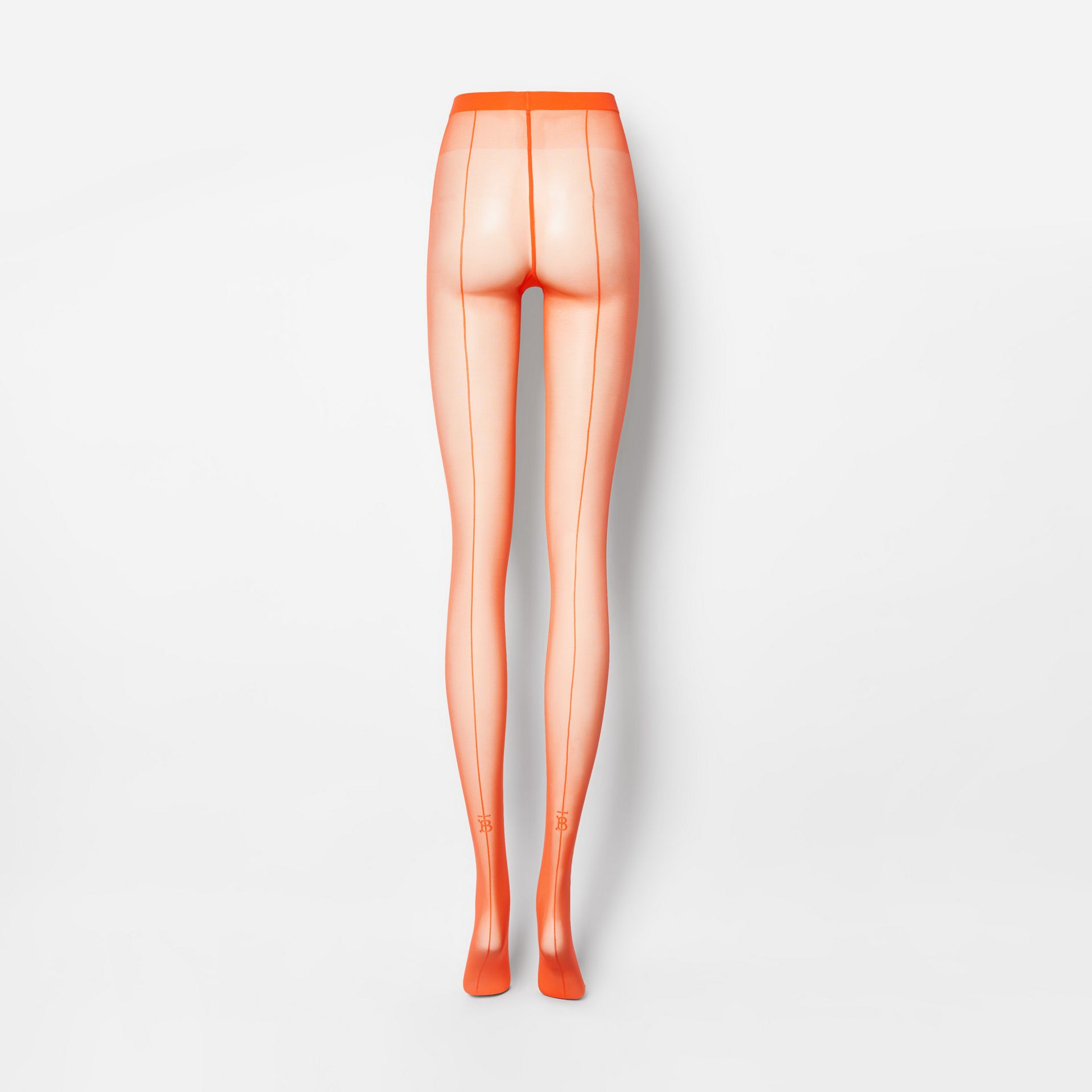 Monogram Motif Seamed Tights in Bright Orange - Women | Burberry Australia - gallery image 4