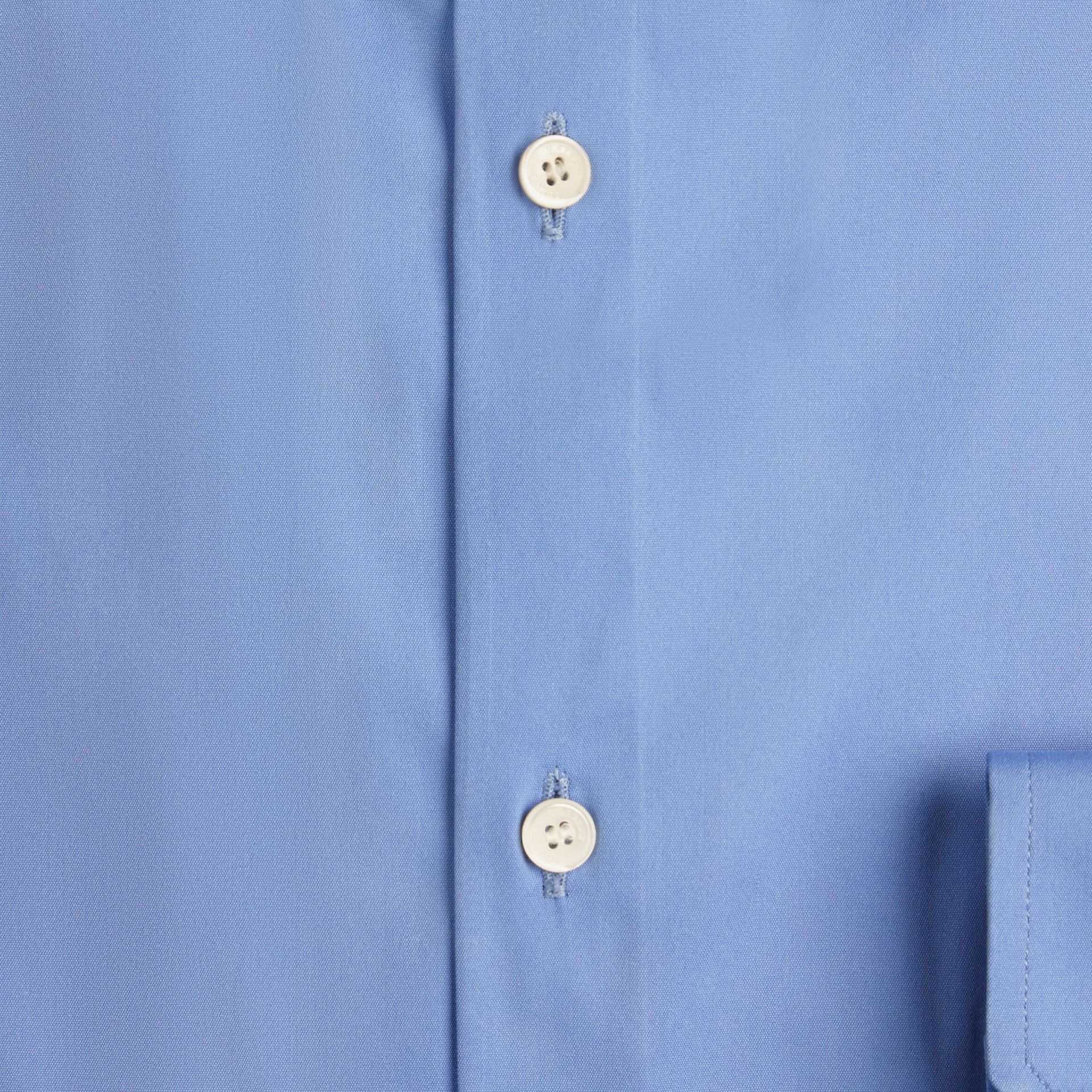 Slim Fit Button-down Collar Stretch-cotton Shirt Mid Blue - gallery image 2