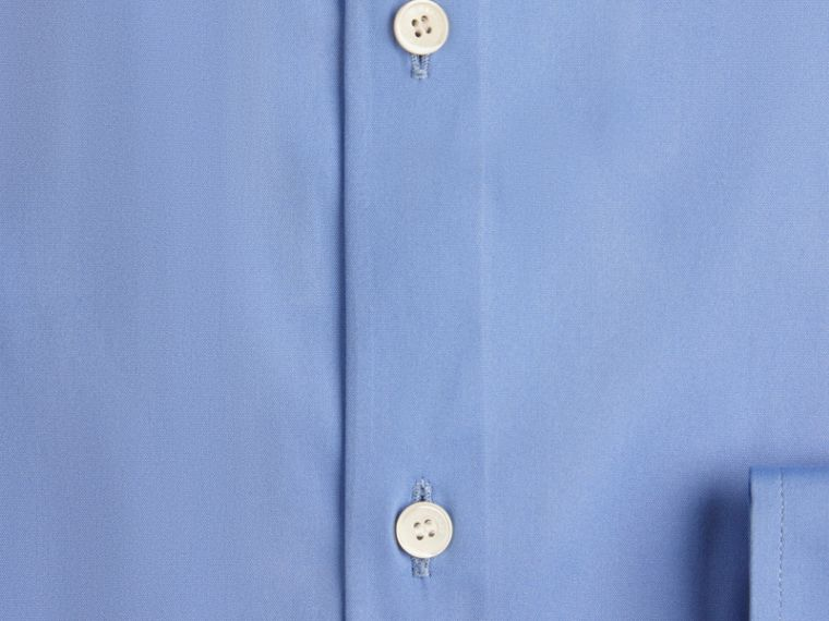 Slim Fit Button-down Collar Stretch-cotton Shirt in Mid Blue - cell image 1