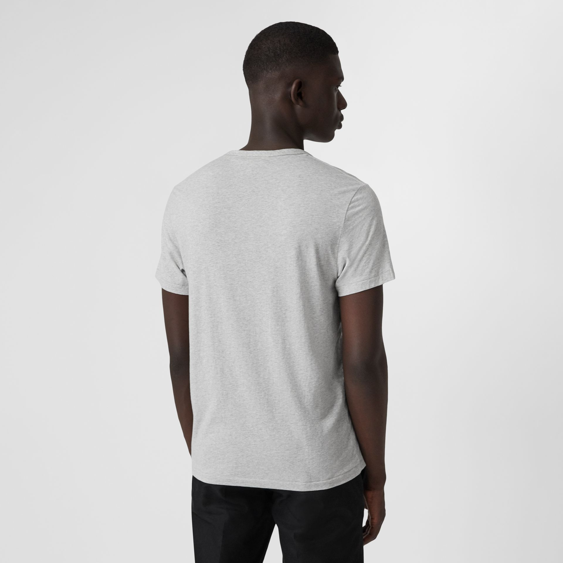 Cotton Jersey T-shirt in Pale Grey Melange - Men | Burberry Hong Kong - gallery image 2