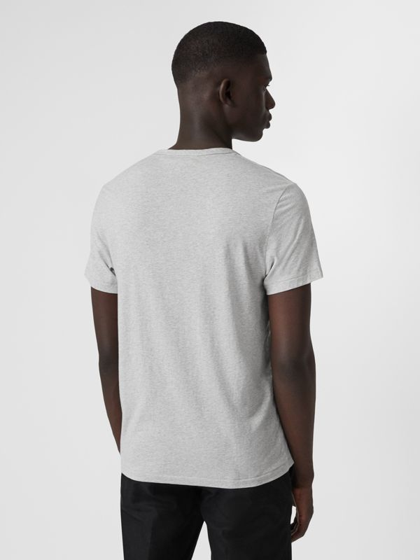 Cotton Jersey T-shirt in Pale Grey Melange - Men | Burberry Hong Kong - cell image 2