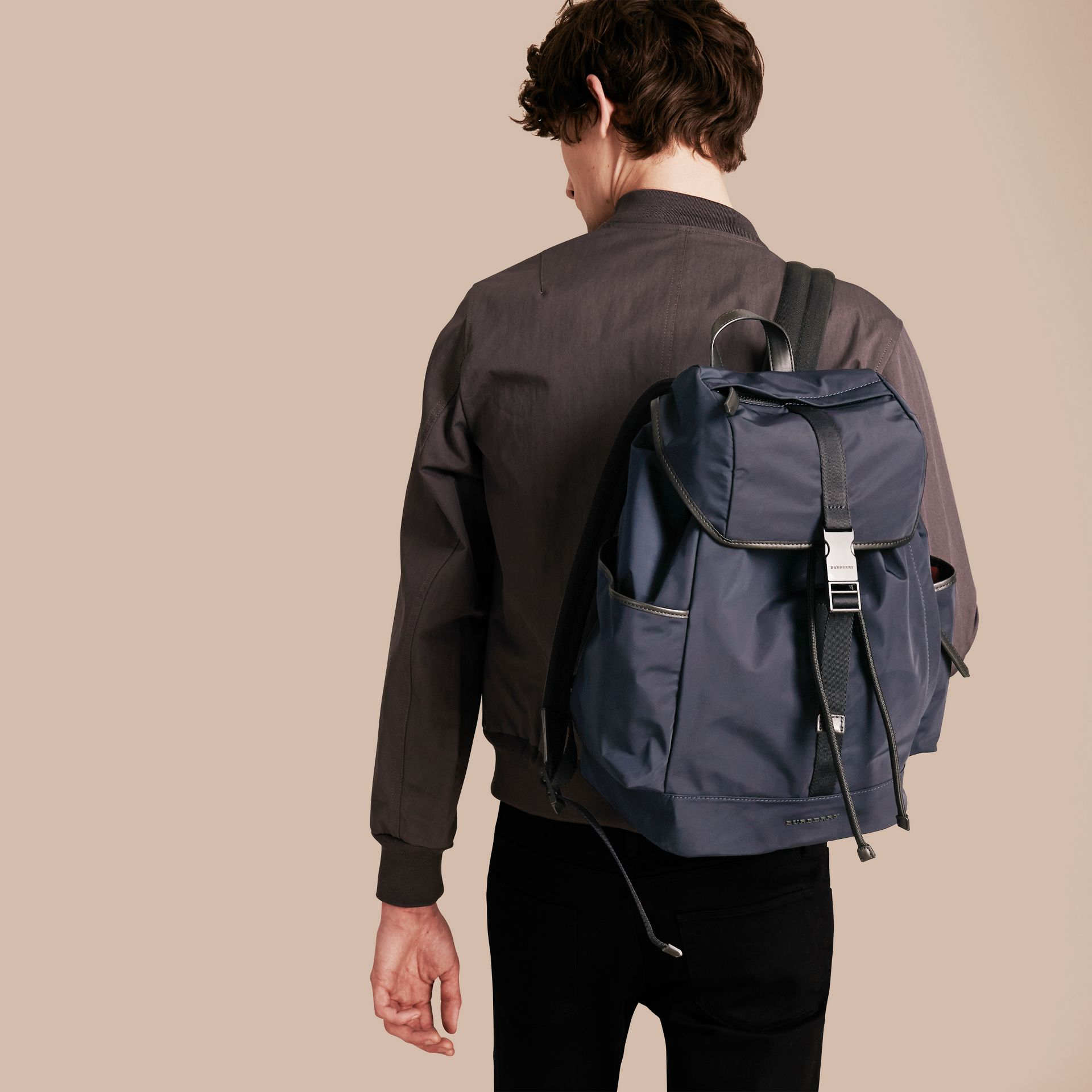 Leather Trim Lightweight Backpack in Ink - gallery image 3