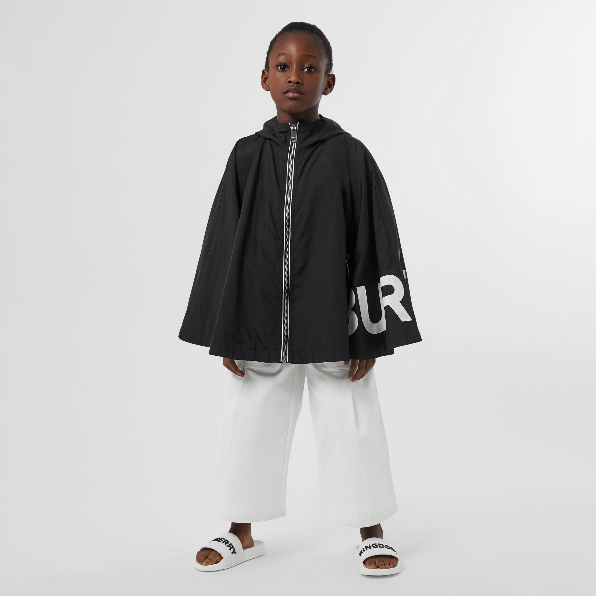 Logo Print Hooded Cape in Black | Burberry United Kingdom - gallery image 2