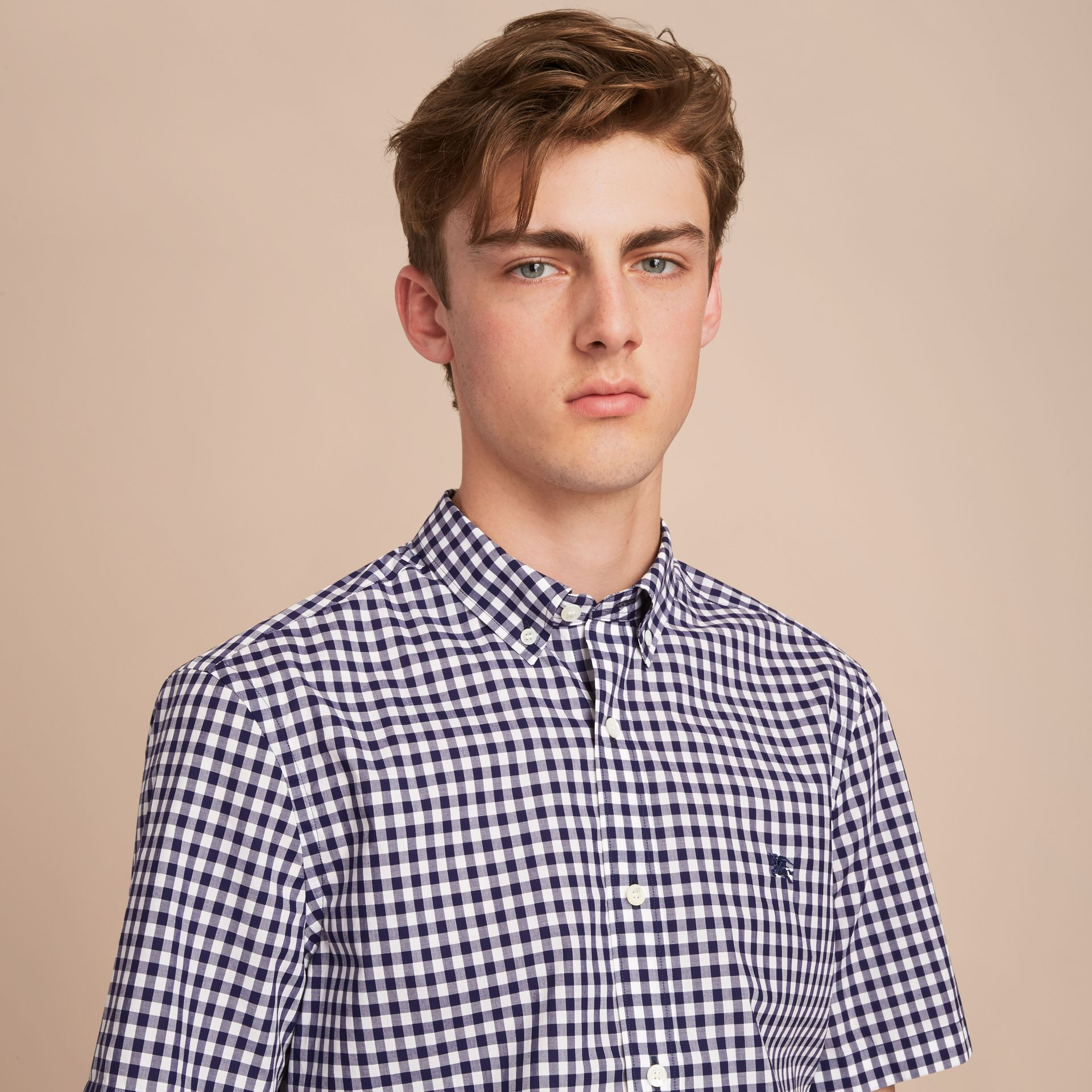 Short-sleeve Button-down Collar Cotton Gingham Shirt in Navy - Men | Burberry - gallery image 5