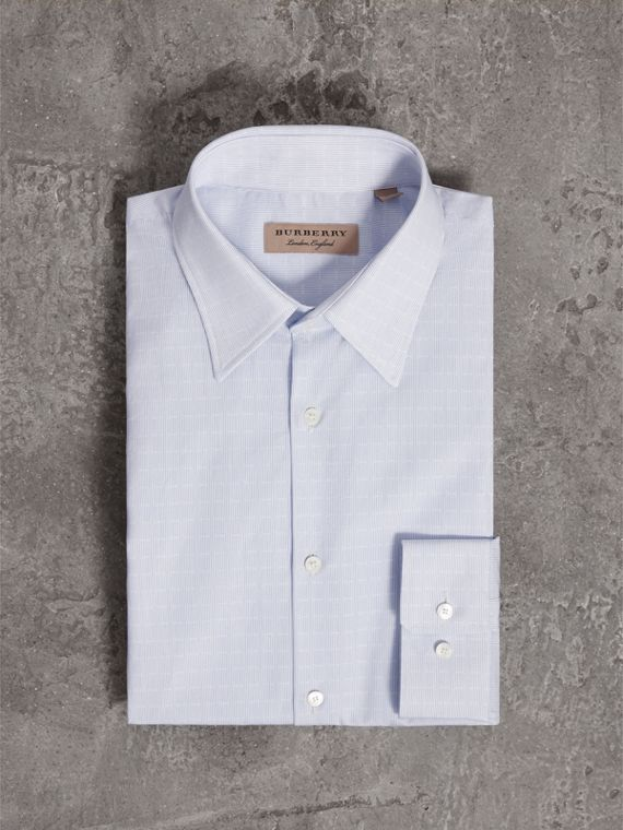 Modern Fit Geometric Dobby Cotton Shirt in Pale Blue - Men | Burberry Singapore - cell image 3