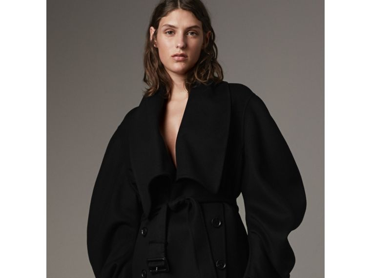 Double-faced Wool Cashmere Sculptural Coat in Black - Women | Burberry - cell image 4