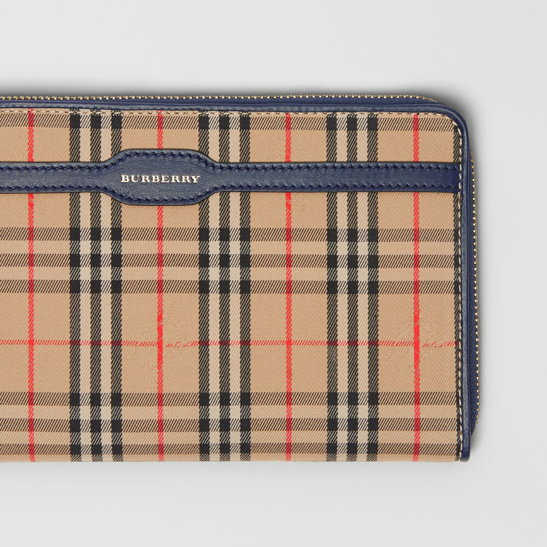 1983 Check and Leather Travel Wallet in Ink Blue - Men | Burberry - gallery image 1