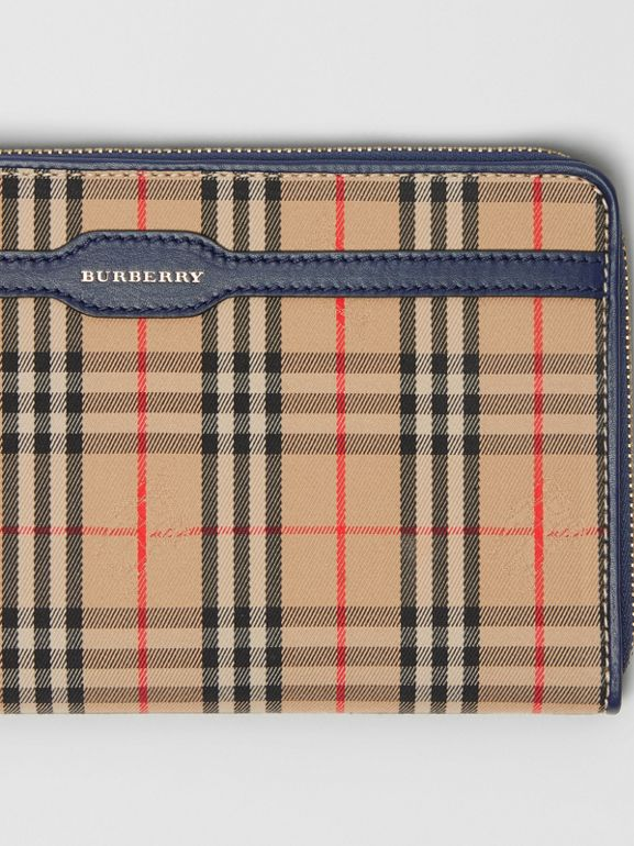 1983 Check and Leather Travel Wallet in Ink Blue | Burberry - cell image 1