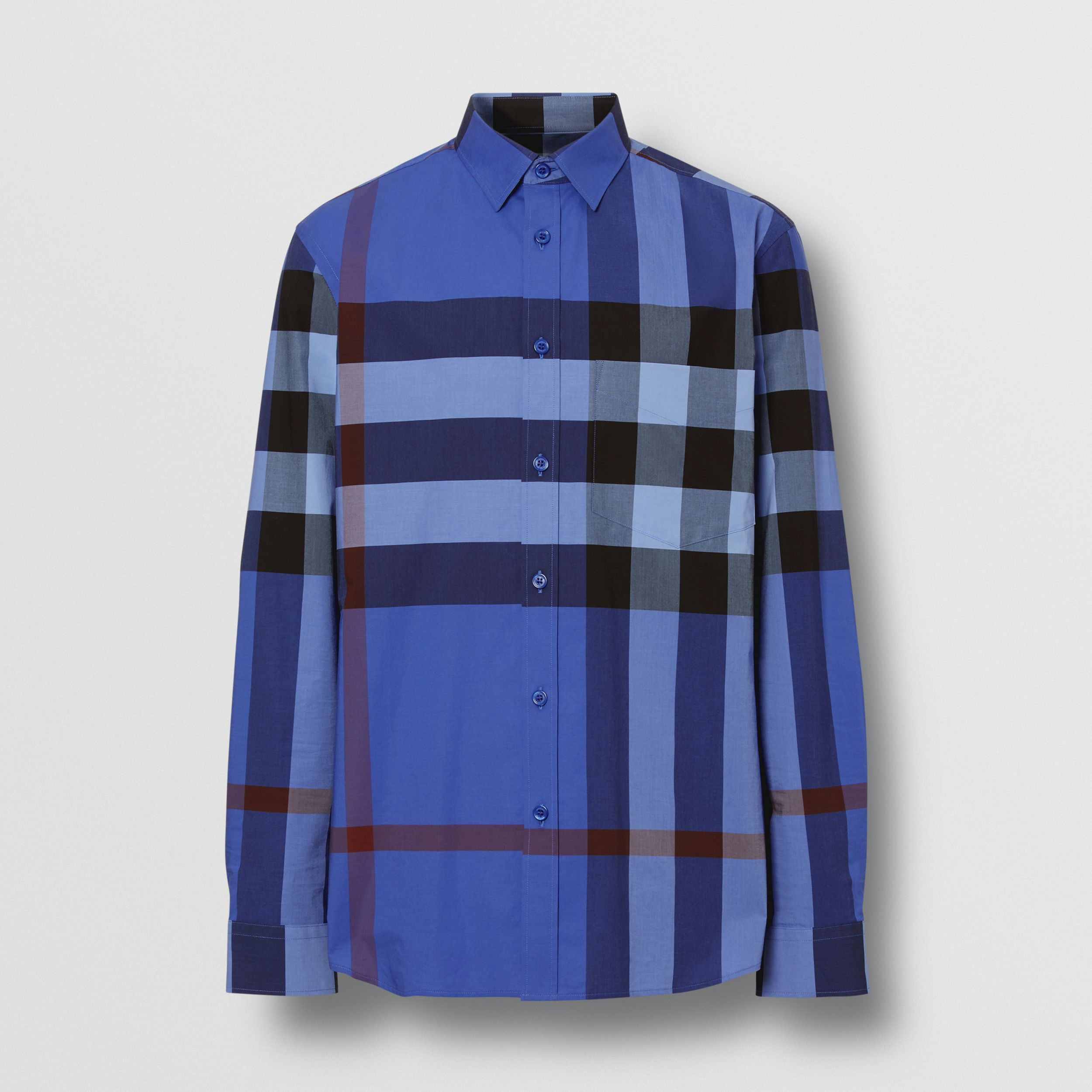 Check Stretch Cotton Poplin Shirt in Opal Blue | Burberry United Kingdom - 4