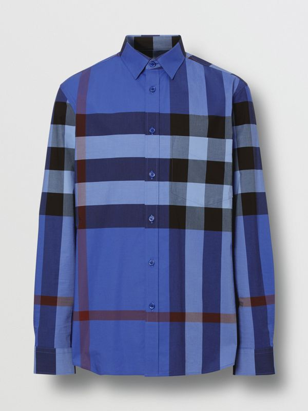Check Stretch Cotton Poplin Shirt in Opal Blue - Men | Burberry Canada - cell image 3