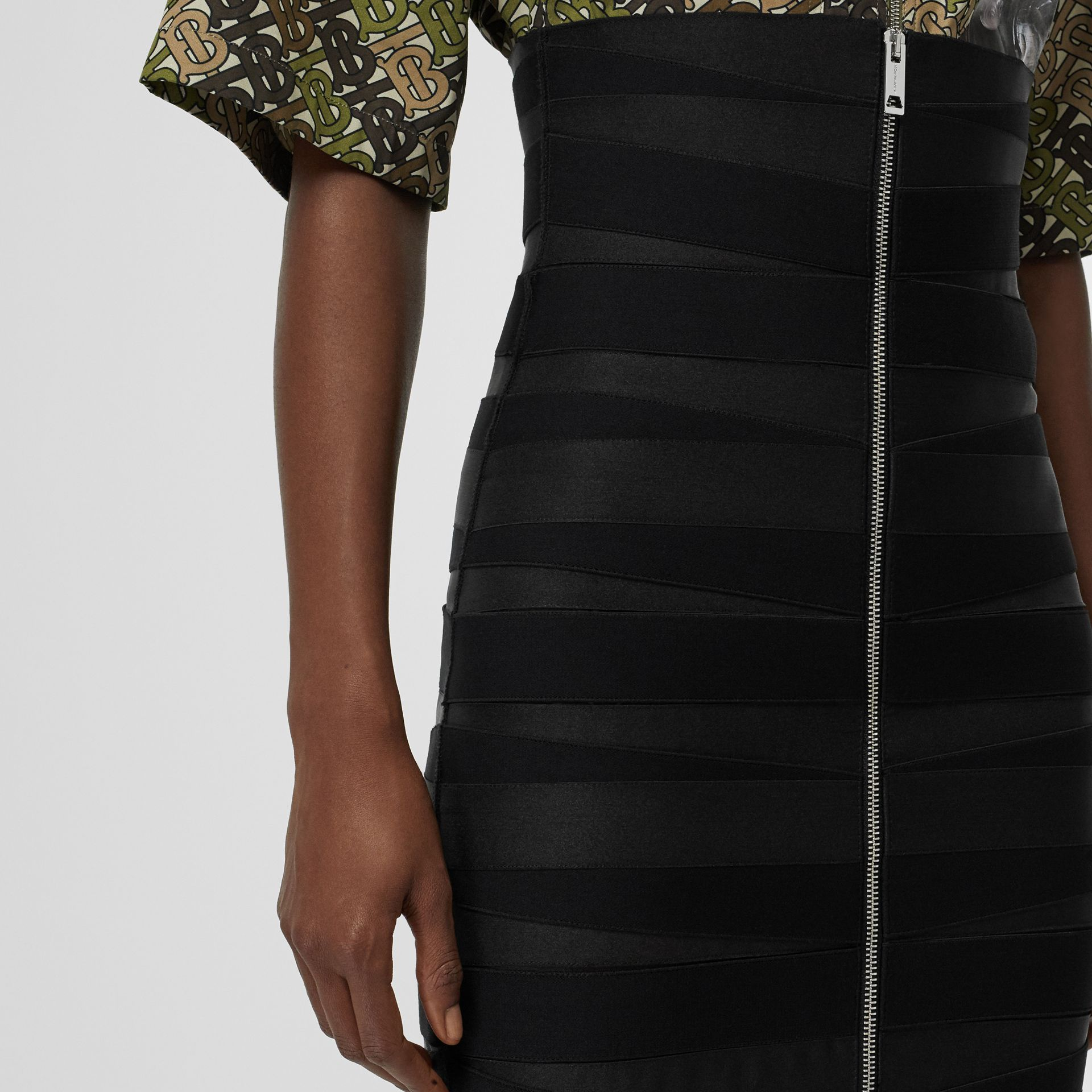 Stretch Zip-front Bandage Skirt in Black - Women | Burberry Australia - gallery image 1