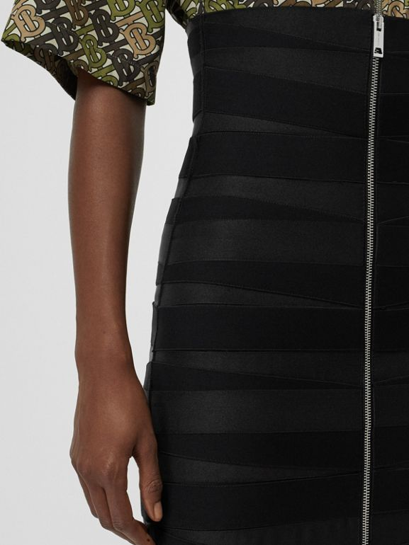 Stretch Zip-front Bandage Skirt in Black - Women | Burberry United Kingdom - cell image 1