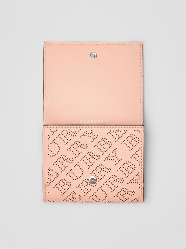 Small Perforated Logo Leather Wallet in Pale Fawn Pink - Women | Burberry - cell image 3
