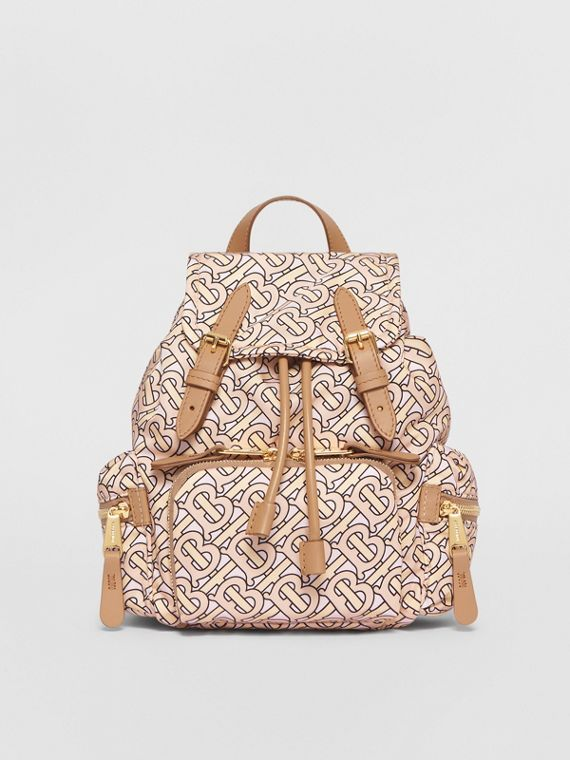 The Small Rucksack in Monogram Print Nylon in Blush