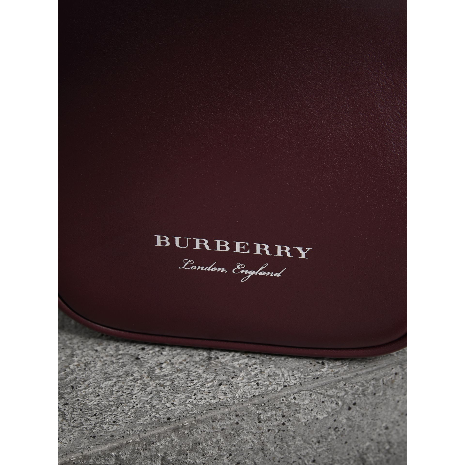 Mini Two-tone Leather Frame Bag in Burgundy - Women | Burberry United Kingdom - gallery image 1