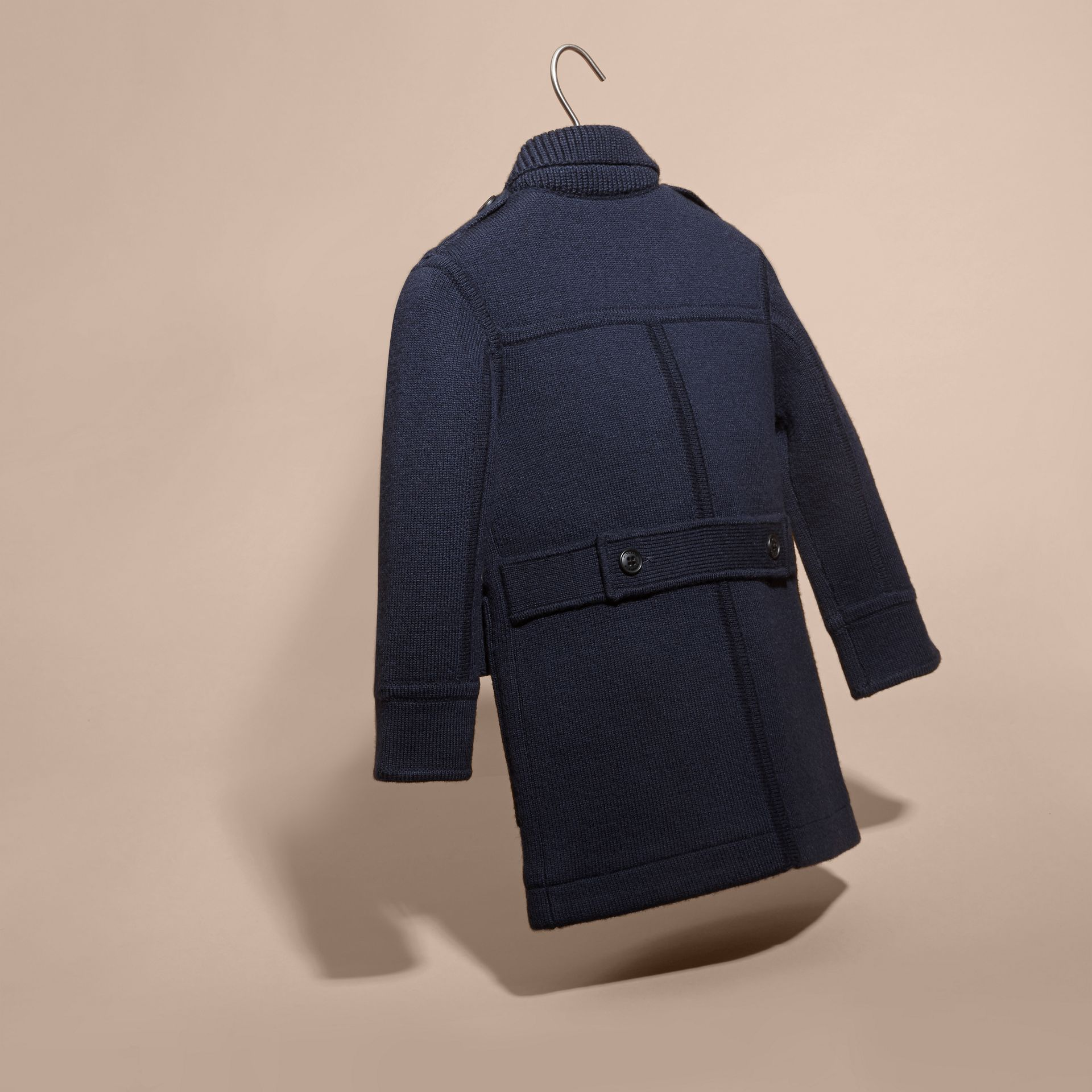 Navy Knitted Merino Wool Pea Coat - gallery image 4