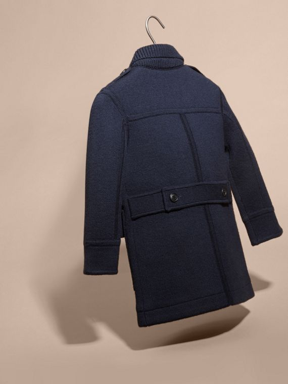 Navy Knitted Merino Wool Pea Coat - cell image 3