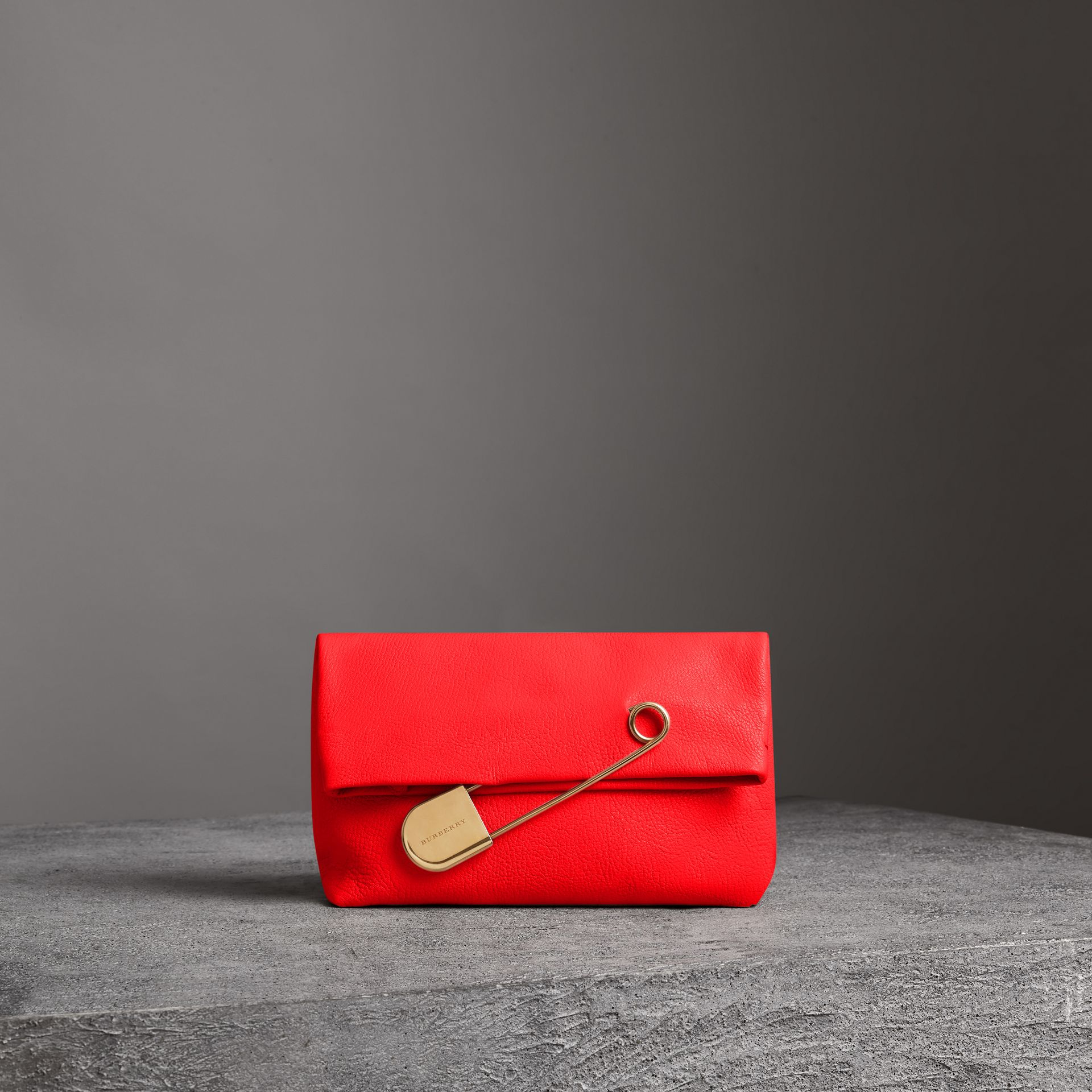 The Medium Pin Clutch in Leather in Bright Red - Women | Burberry United Kingdom - gallery image 0