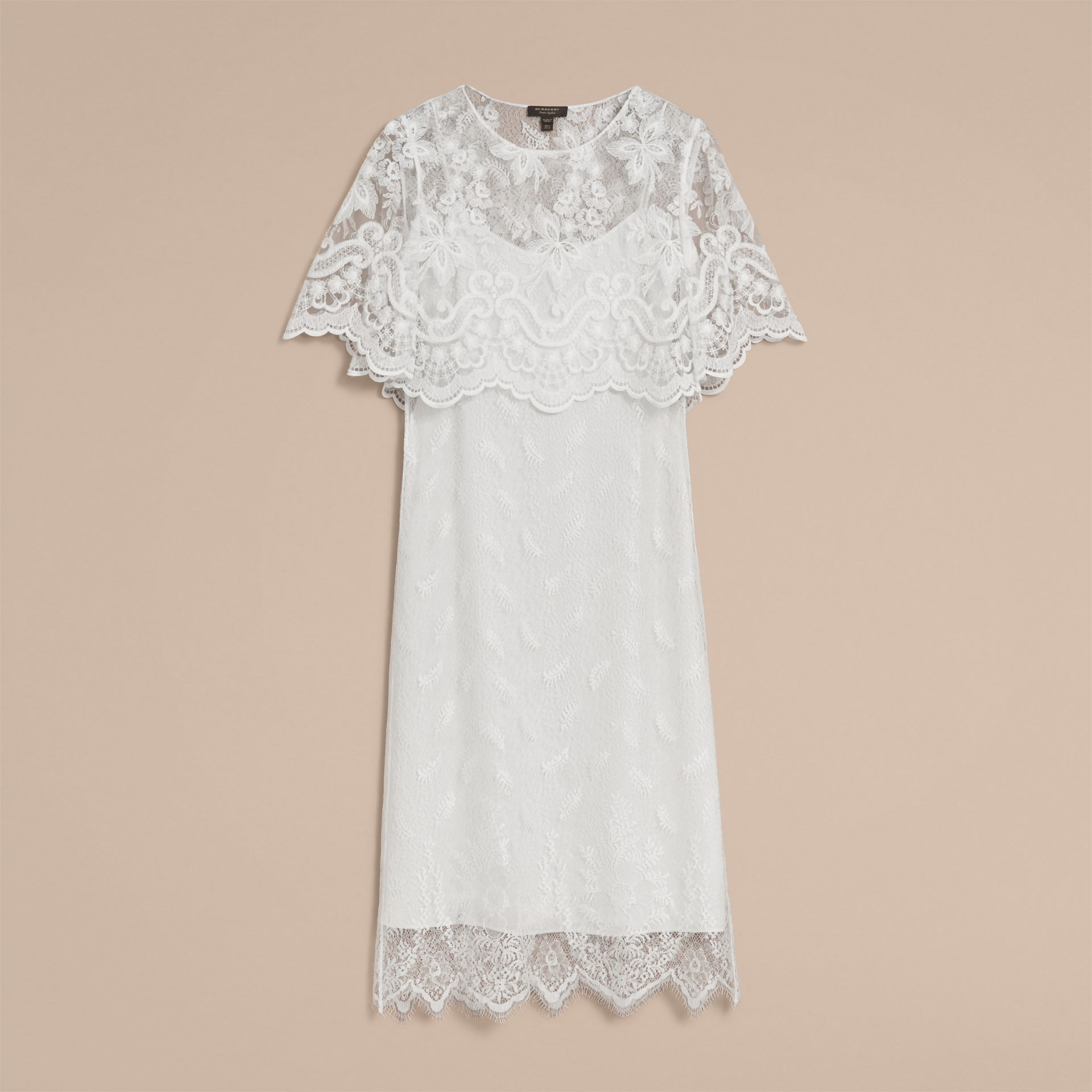Layered Lace Shift Dress in White - Women | Burberry - gallery image 4