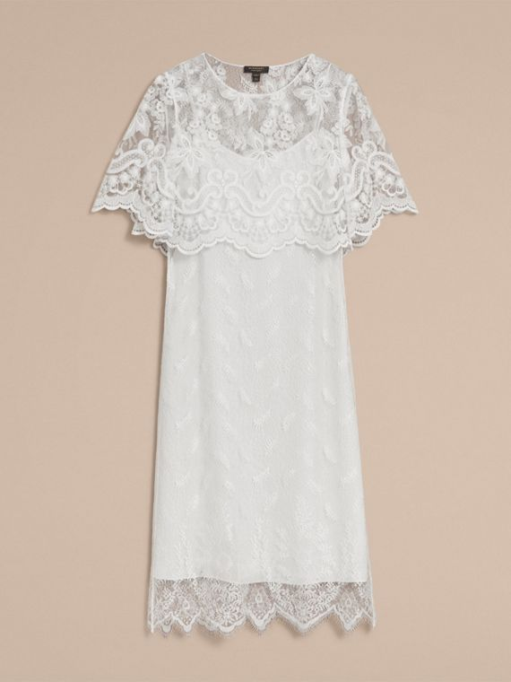 Layered Lace Shift Dress in White - Women | Burberry - cell image 3