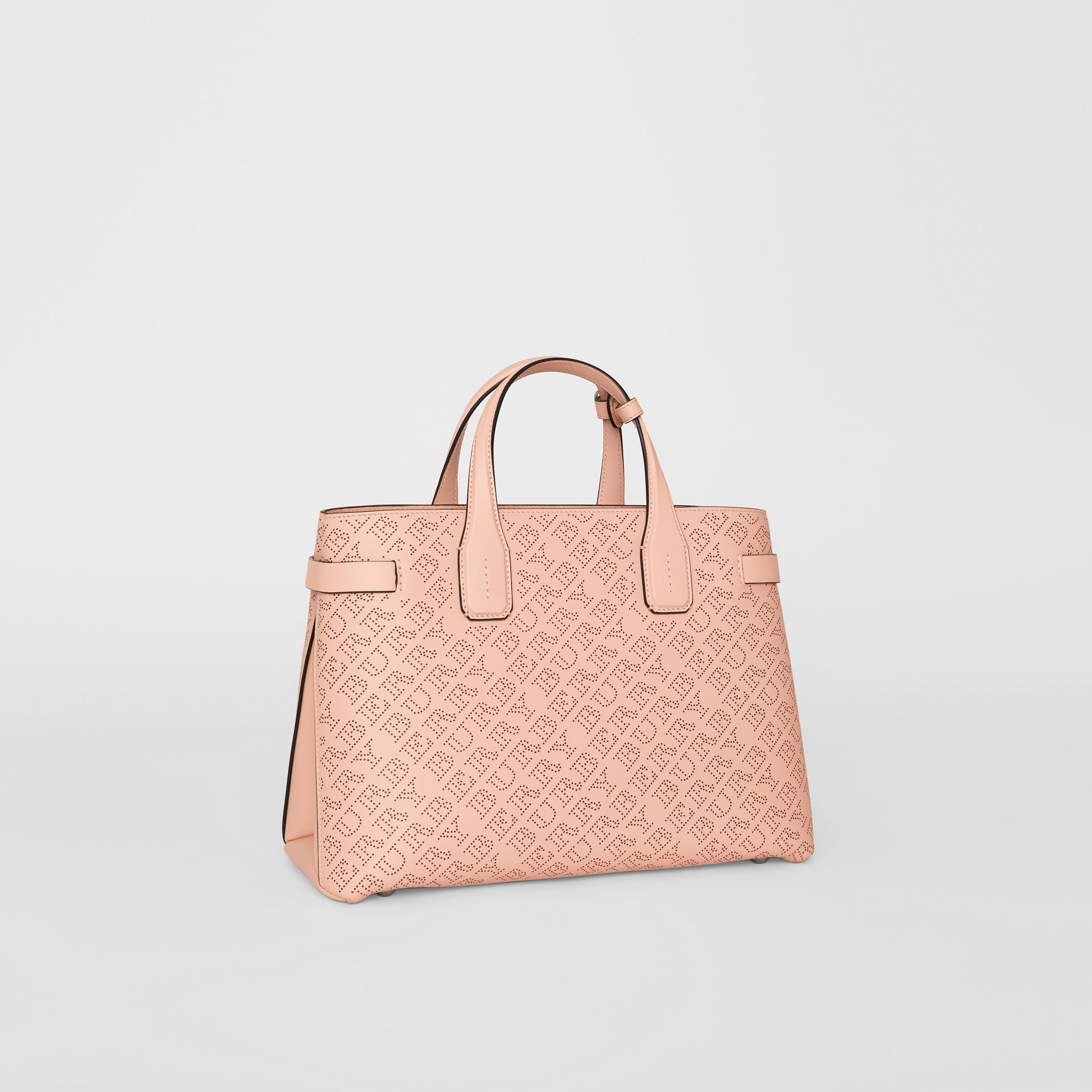 The Medium Banner in Perforated Logo Leather in Pale Fawn Pink - Women   Burberry - gallery image 6