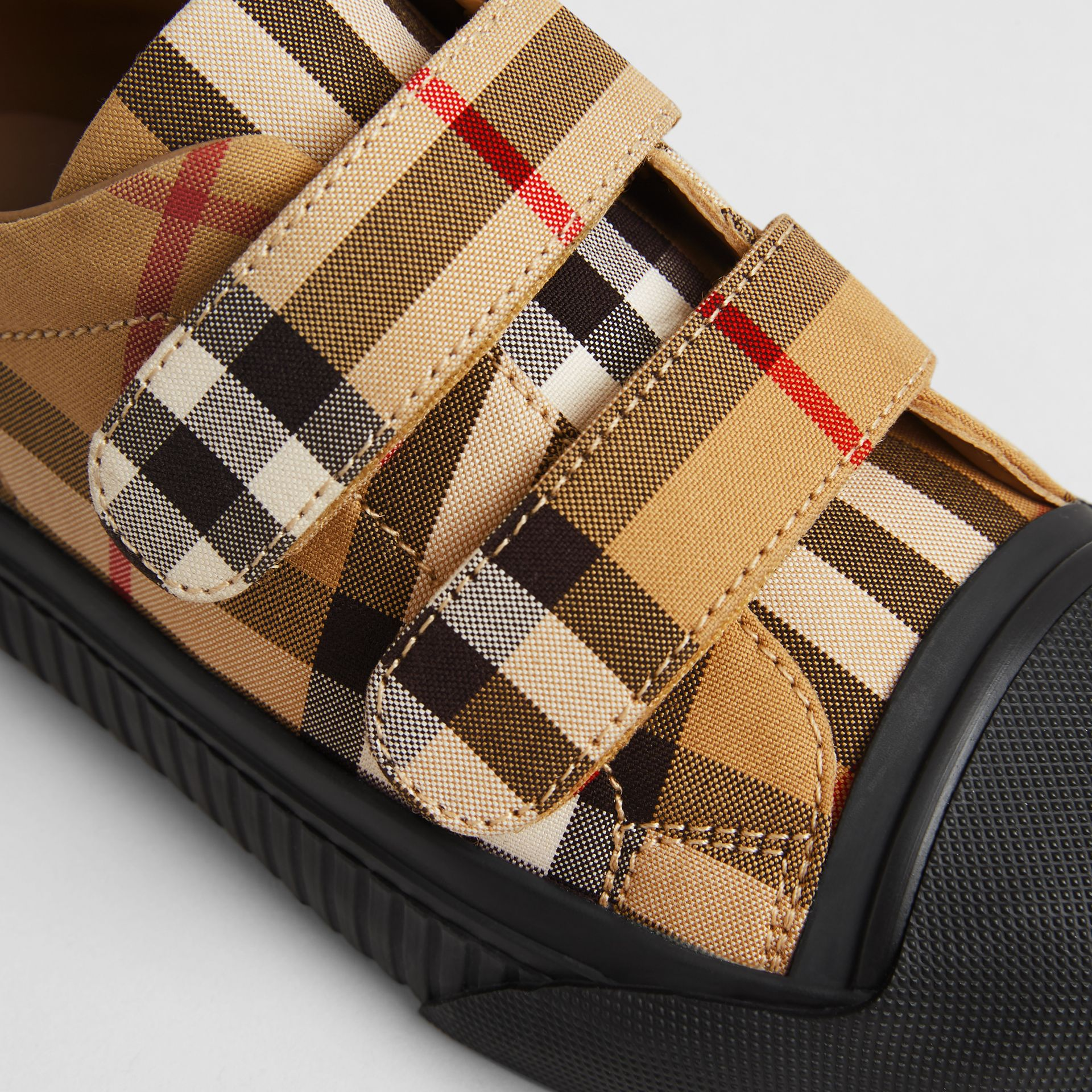 Vintage Check and Leather Sneakers in Antique Yellow/black | Burberry Australia - gallery image 1