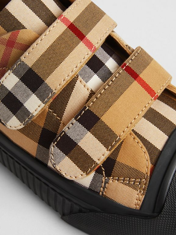 Vintage Check and Leather Sneakers in Antique Yellow/black | Burberry United Kingdom - cell image 1