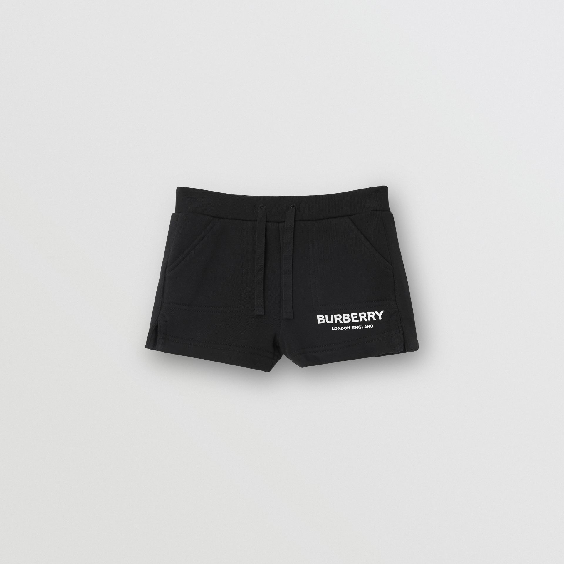 Logo Print Cotton Drawcord Shorts in Black - Children | Burberry United Kingdom - gallery image 0