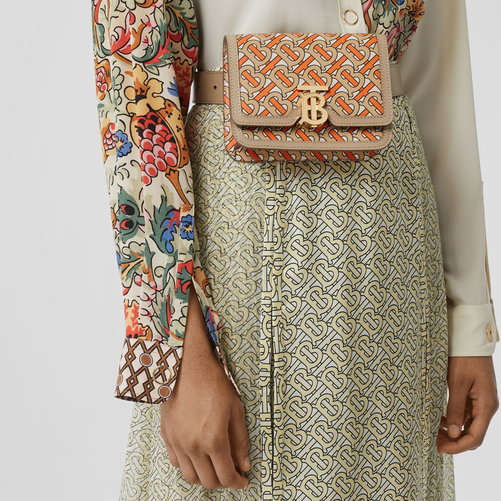 Belted Monogram Print Leather TB Bag in Bright Orange - Women | Burberry Australia - gallery image 2