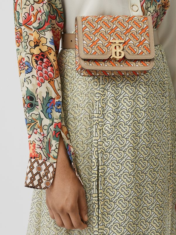 Belted Monogram Print Leather TB Bag in Bright Orange - Women | Burberry - cell image 2