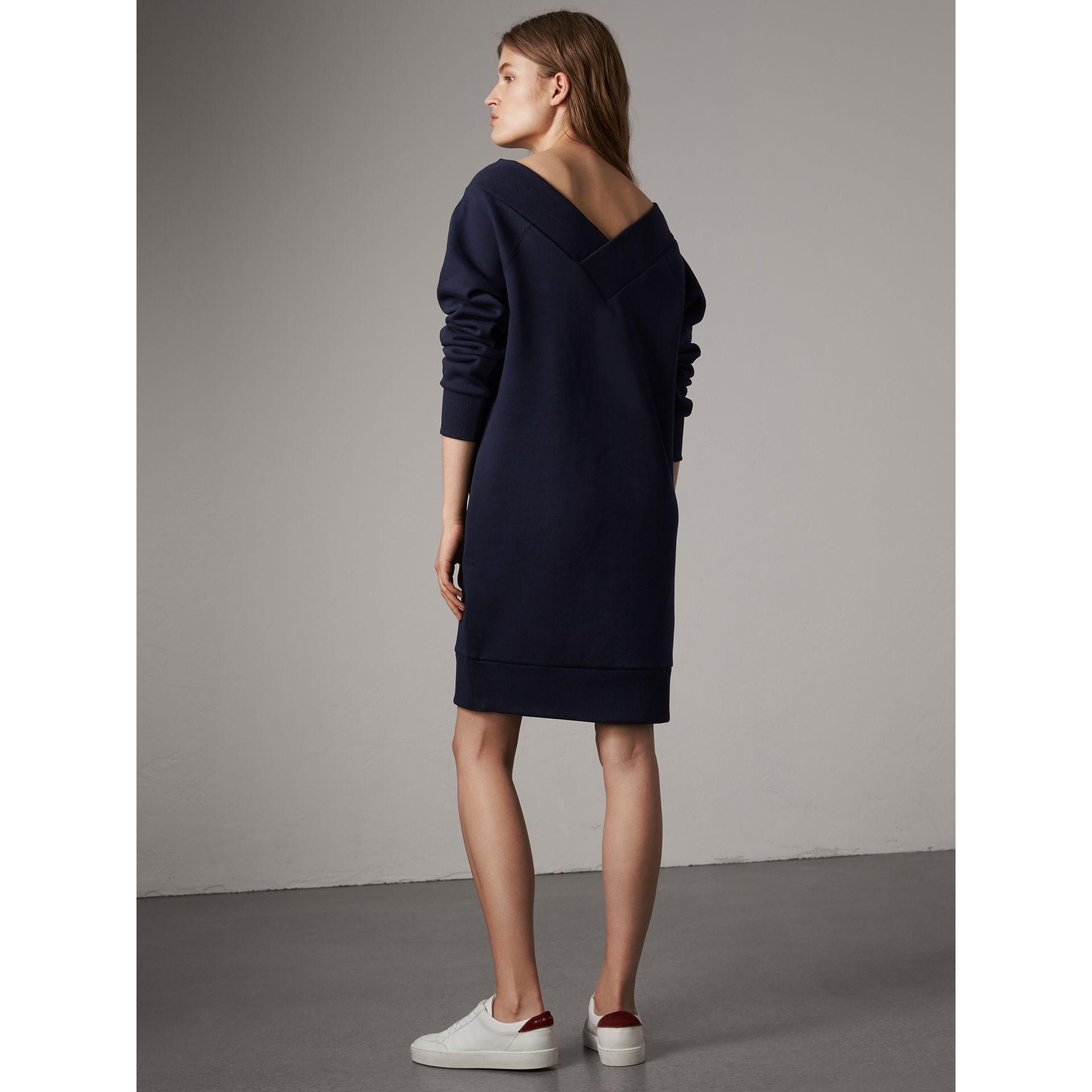 Cotton Blend V-neck Sweater Dress in Navy - Women | Burberry - gallery image 2