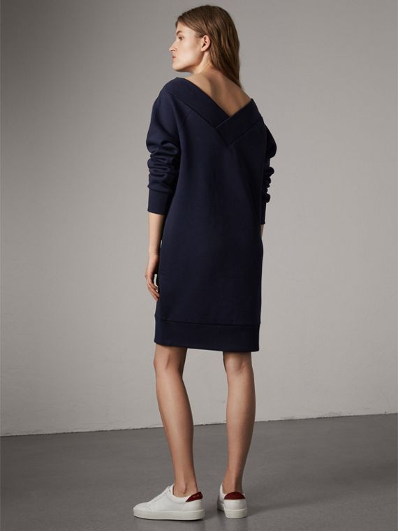 Cotton Blend V-neck Sweater Dress in Navy - Women | Burberry - cell image 2