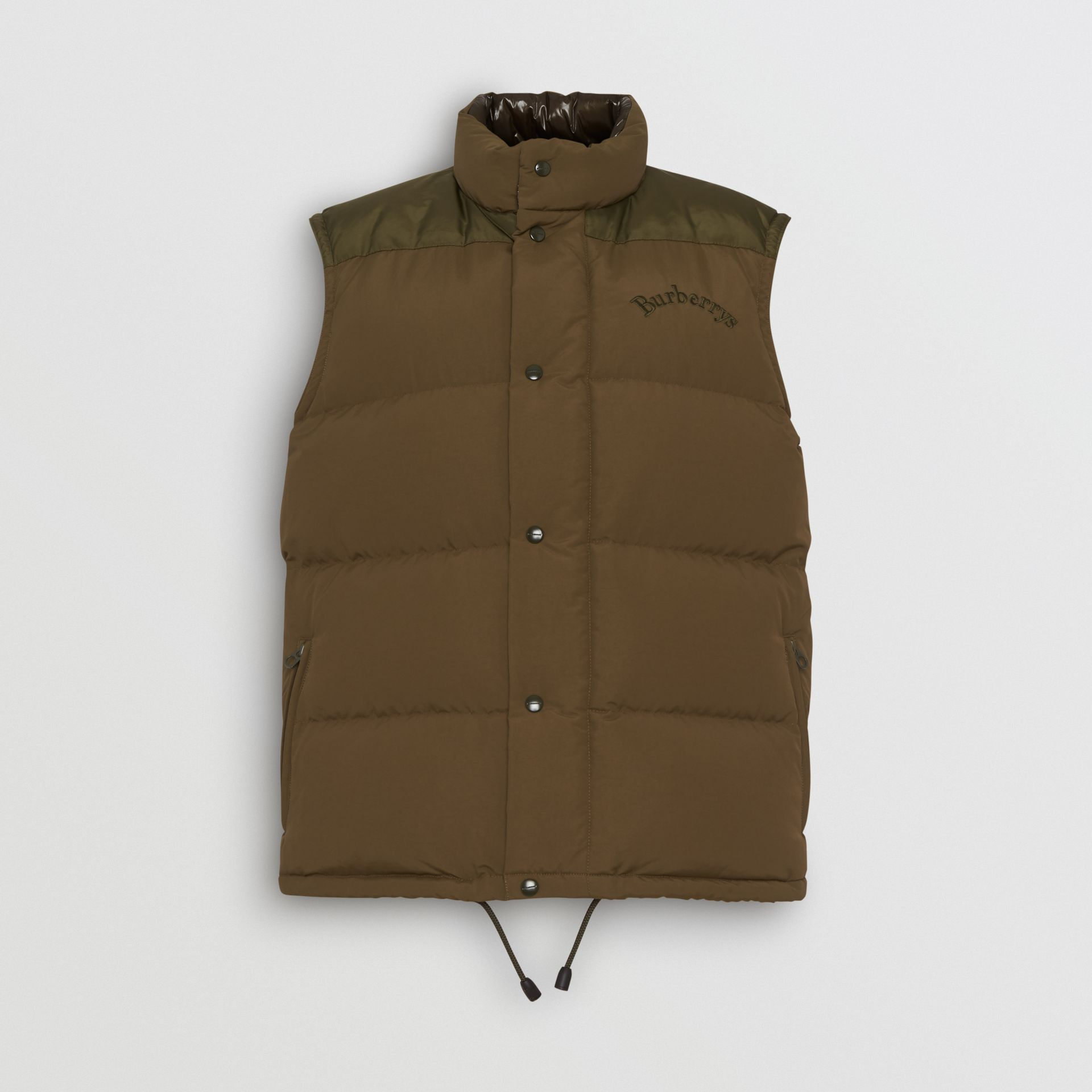 Embroidered Archive Logo Down-filled Gilet in Olive - Men | Burberry - gallery image 3