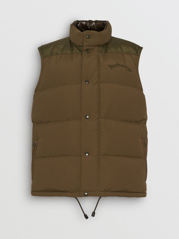 Embroidered Archive Logo Down-filled Gilet in Olive - Men | Burberry - cell image 3