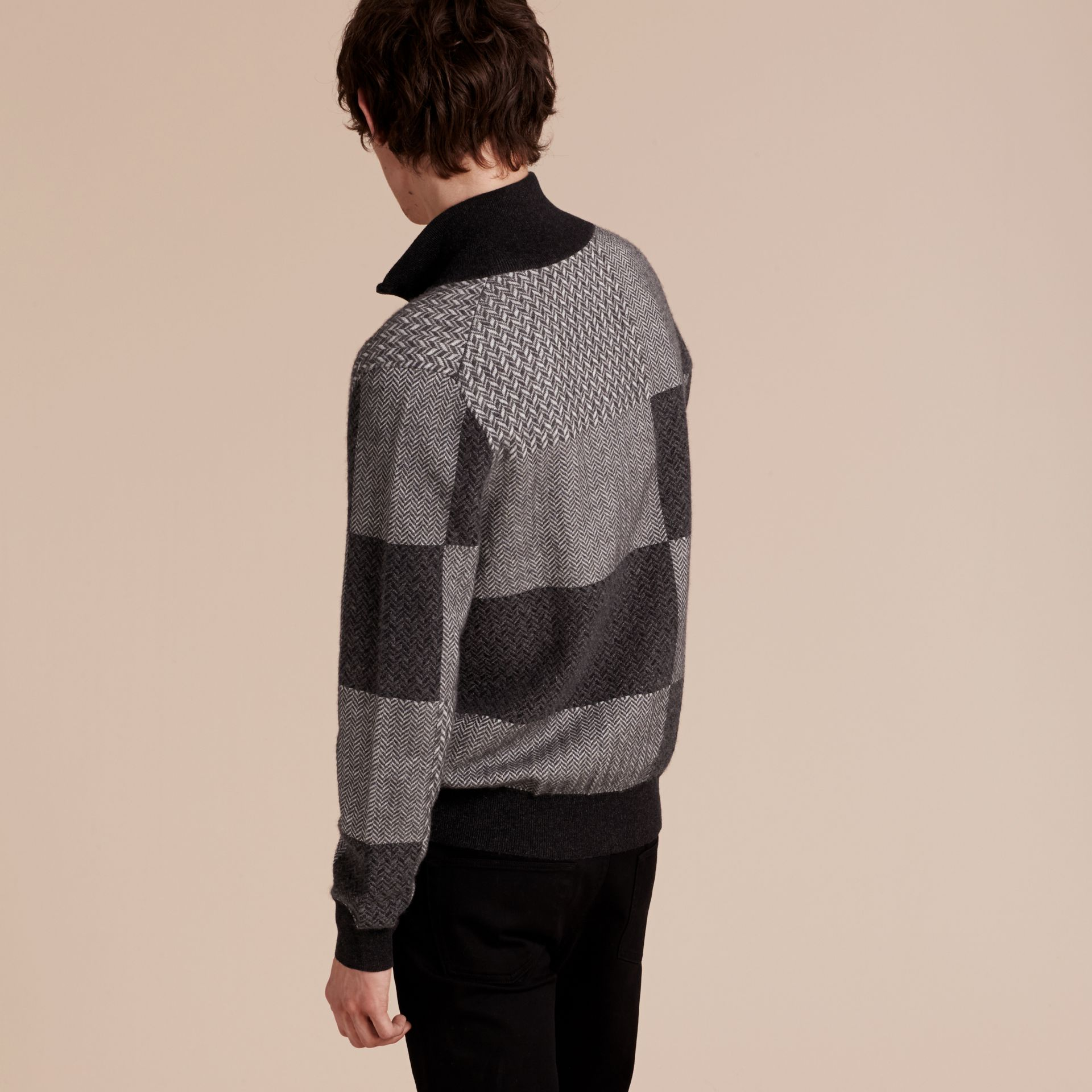 Dark grey melange Funnel Neck Cashmere Cotton Knitted Jacket - gallery image 3