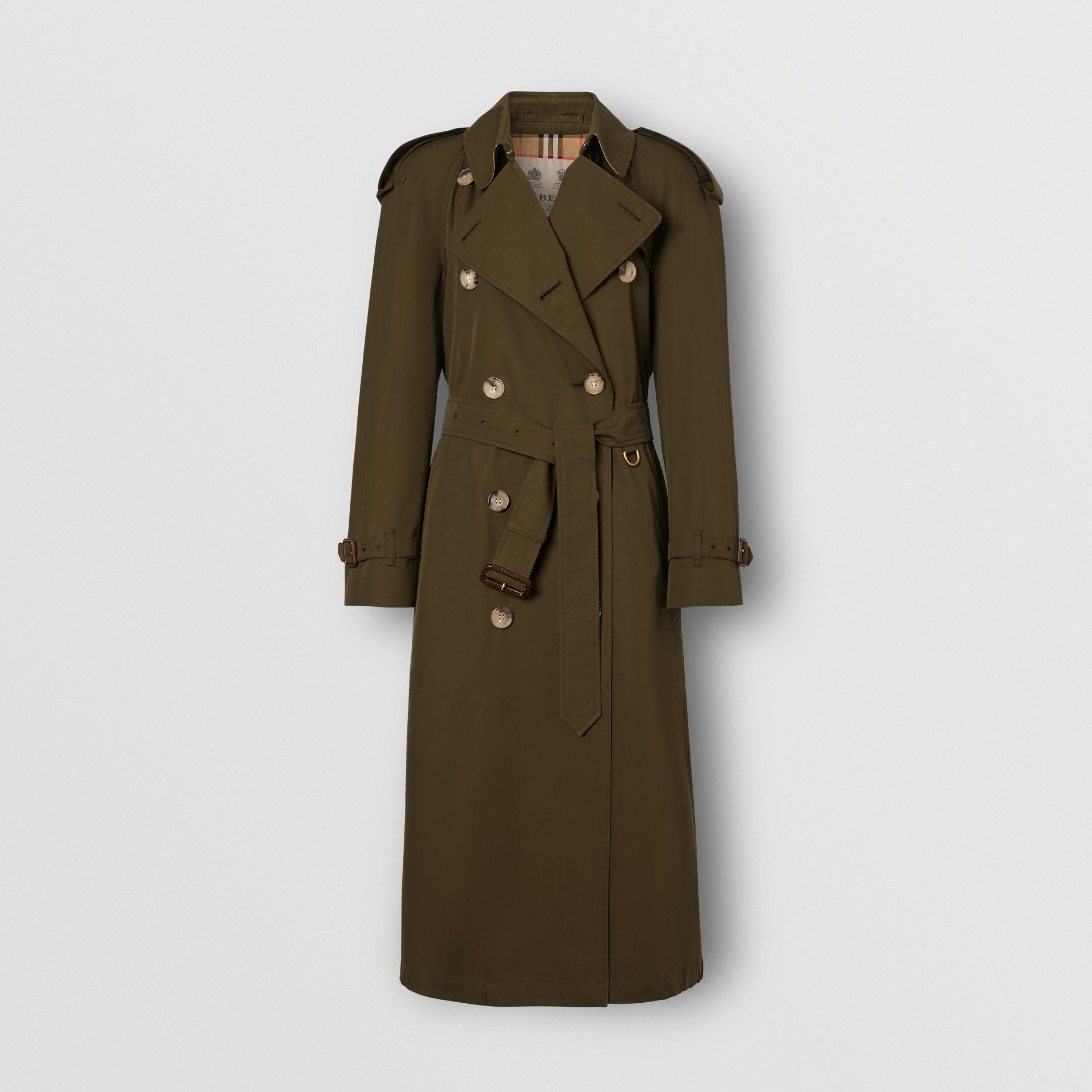 The Long Westminster Heritage Trench Coat in Dark Military Khaki - Women | Burberry Singapore - gallery image 8