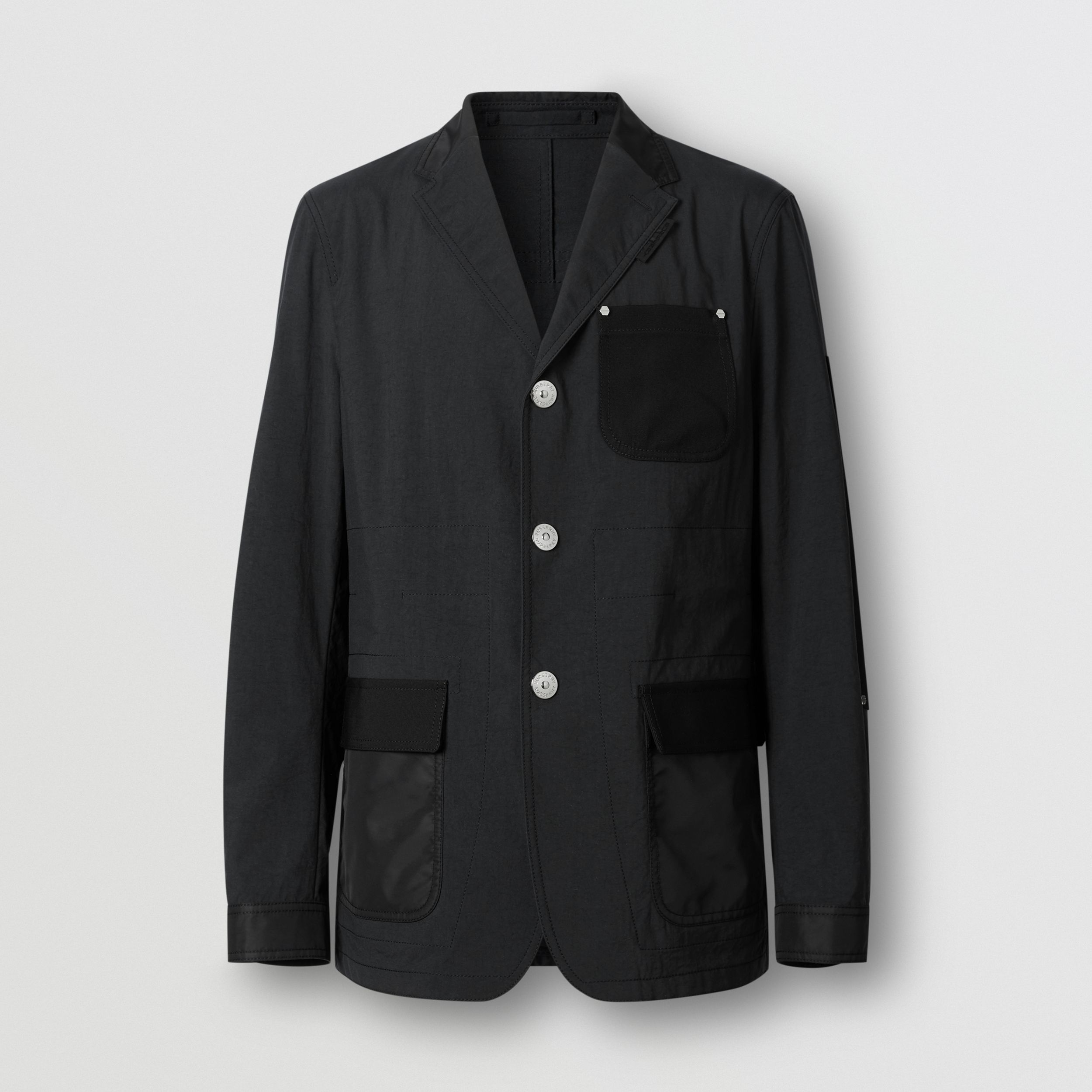 Slim Fit Panelled Nylon and Wool Tailored Jacket in Black - Men | Burberry Singapore - 4