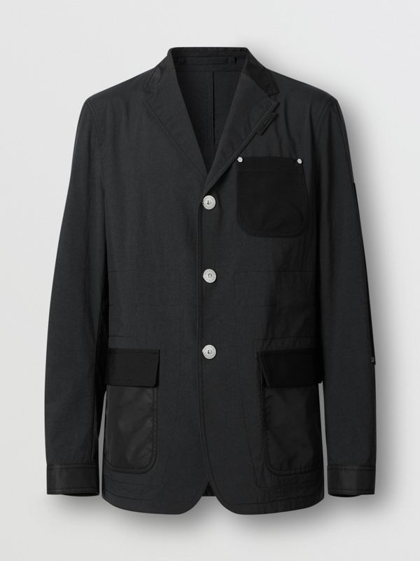 Slim Fit Panelled Nylon and Wool Tailored Jacket in Black - Men | Burberry - cell image 3
