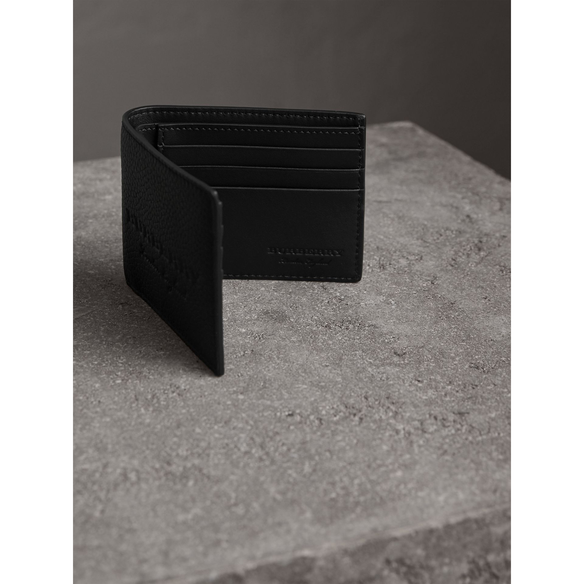 Textured Leather Bifold Wallet in Black - Men | Burberry United States - gallery image 3