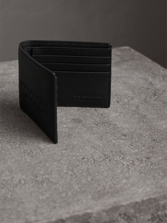 Textured Leather Bifold Wallet in Black - Men | Burberry United Kingdom - cell image 3