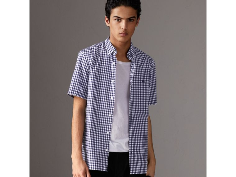 Short-sleeve Button-down Collar Cotton Gingham Shirt in Navy - Men | Burberry - cell image 4