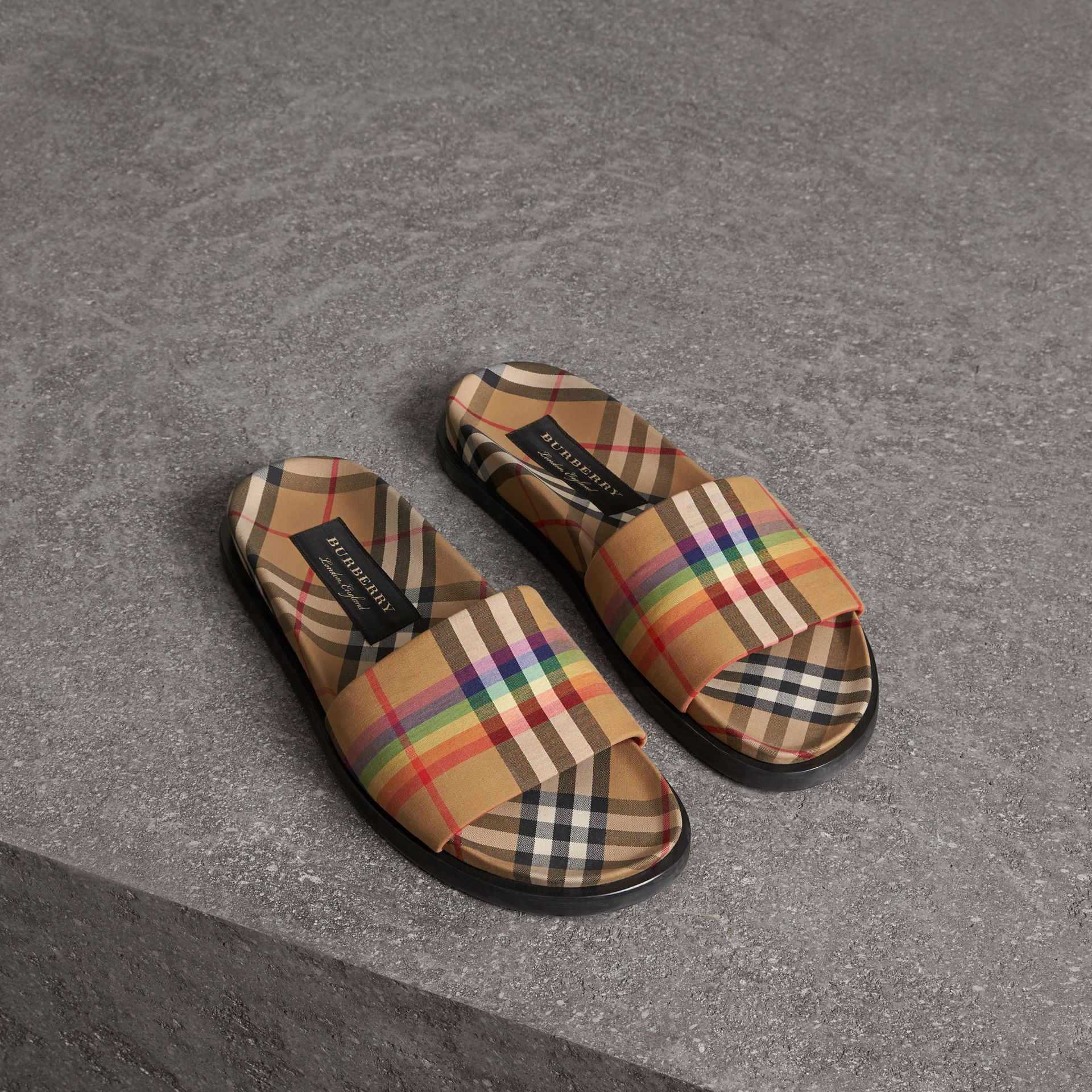 Rainbow Vintage Check Slides in Antique Yellow - Women | Burberry Australia - gallery image 0