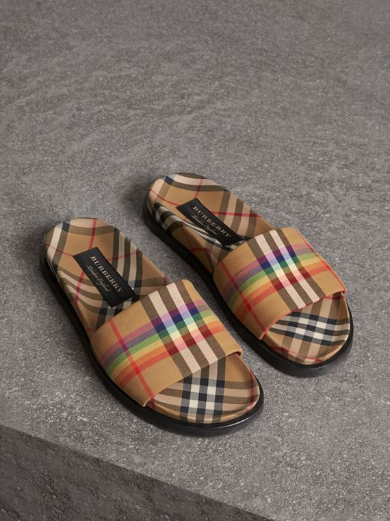 Rainbow Vintage Check Slides in Antique Yellow