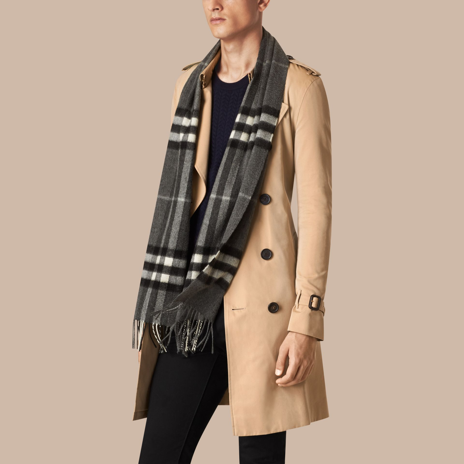 Mid grey The Classic Cashmere Scarf in Check Mid Grey - gallery image 4