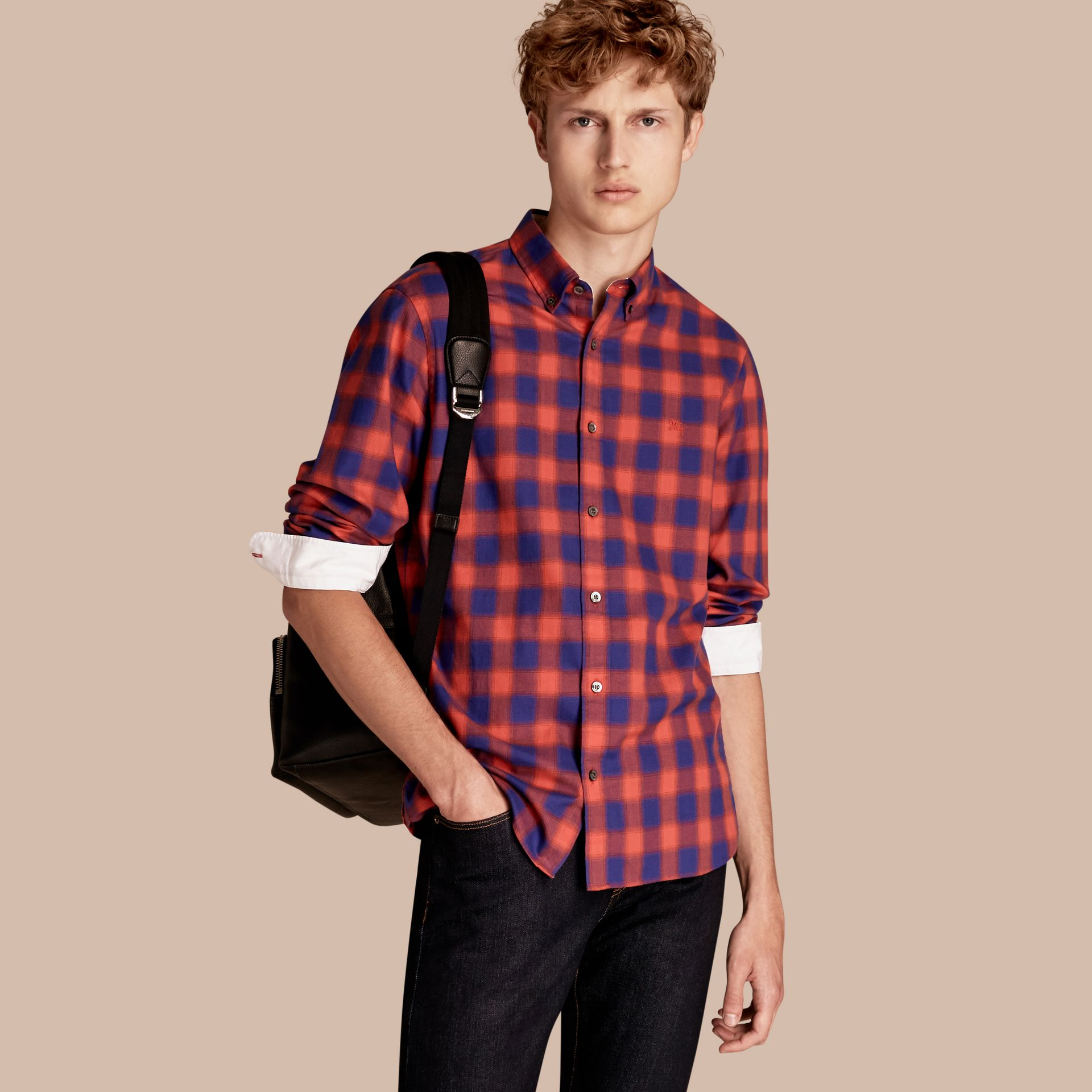 Orange red Gingham Check Cotton Shirt Orange Red - gallery image 1